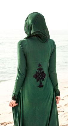 So beautiful in its simplicity!  Neem Tree Abaya #Occasion #EmbroideryEdit #Green