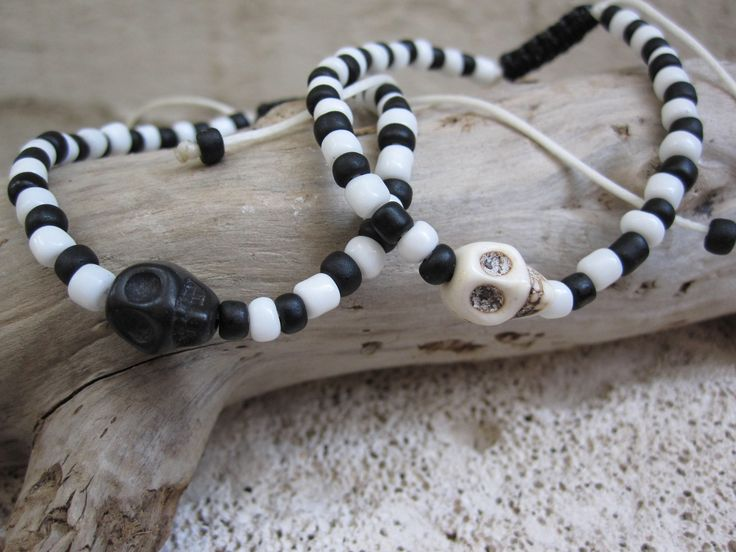 Howlite Skull Black and White for Him and Her by MykonosByBoni on Etsy https://www.etsy.com/listing/550652365/howlite-skull-black-and-white-for-him
