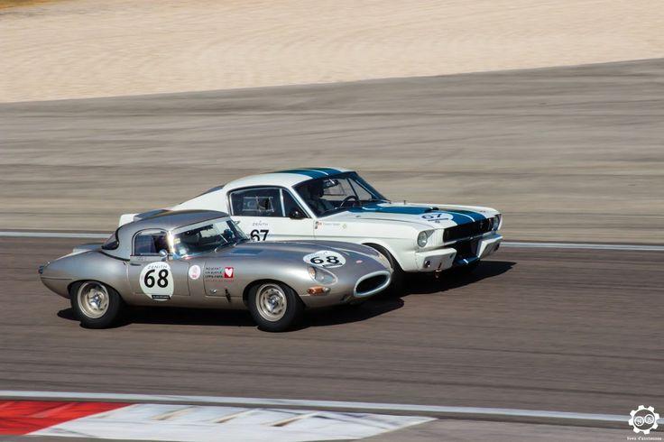 Bataille entre une #Ford #Mustang et une #Jaguar #E_Type sur la piste de #Dijon_Prenois au #GPAO Article original : http://newsdanciennes.com/2015/06/07/news-danciennes-au-grand-prix-de-lage-dor/ #Racecar #VintageCar #ClassicCar