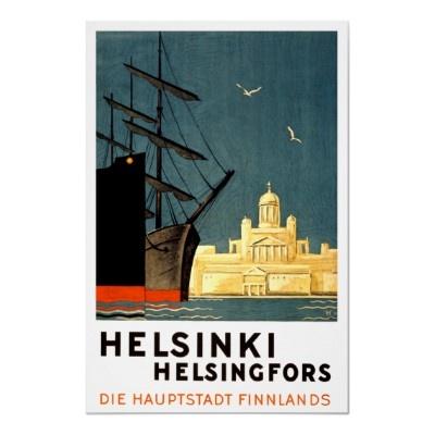 Old Helsinki Travel Poster.
