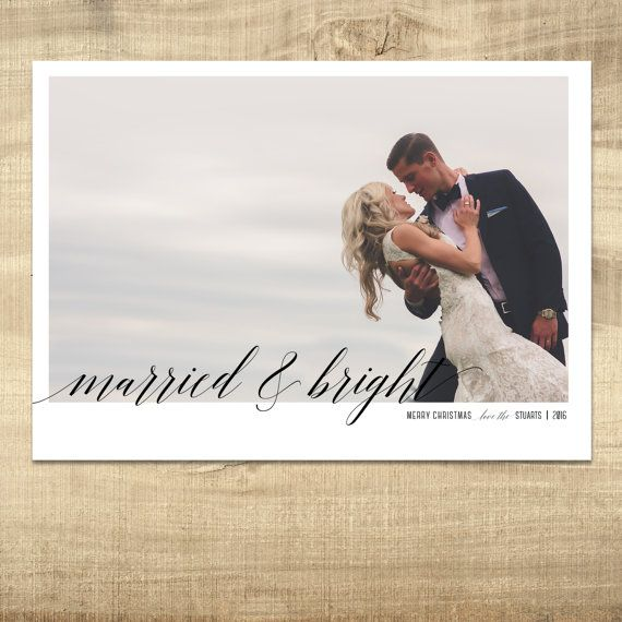 Newlywed Christmas Card: Married and Bright, Photo, Holiday Card, Vertical, Printable, Personalized, Modern Christmas