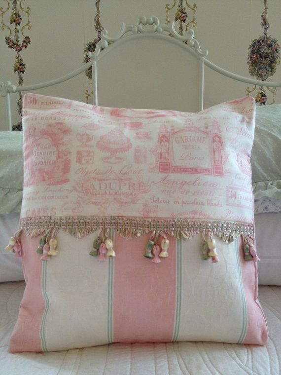 French Country Pillow Cover, Sham, Cottage Chic, Pillow Cover, Shabby Chic Pillow Case, Toile Pillow, Pink Pillow, Paris Inspired PillowPillows Covers, Pillows Cases, Country Pillows, Cottages Chic, Shabby Chic Pillows, French Country, Pink Pillows, Inspiration Pillows, Paris Inspiration