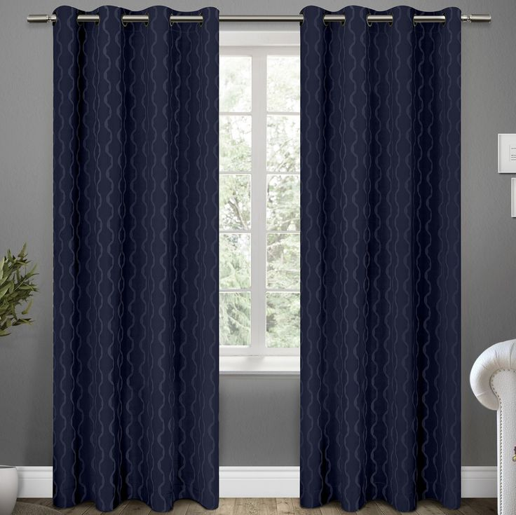TRELLIS Blackout Curtain Pea Coat Blue 18