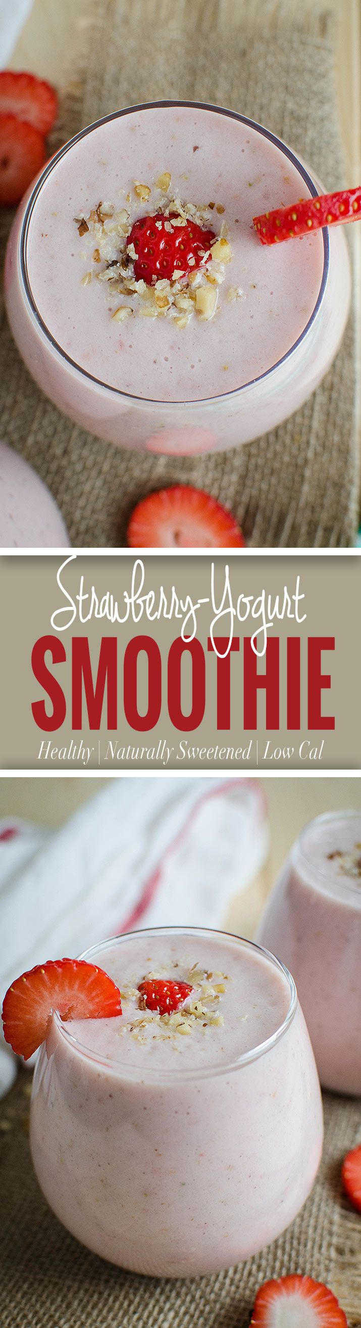 Healthy strawberry banana smoothie with yogurt -- A tasty, nutritious and low-fat treat for morning breakfasts or snacks. via @watchwhatueat