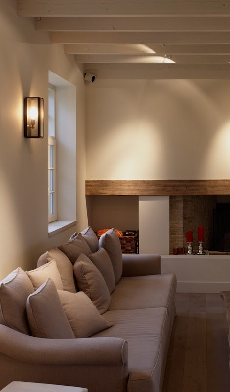 white beams with stained over fireplace