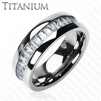 Titanium On The Rocks - Impeccable Solid Titanium Intense Design Comfort-Fit Ring with Cubic Zirconias Center Wedding Band. #BuyBlueSteel #MensWeddingRings