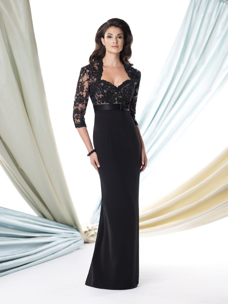 Two-piece silky crepe and lace dress set, strapless sheath with sweetheart neckline, hand-beaded lace overlay bodice features an empire waist belt with bow at side, slim skirt with back gore inset accented with covered buttons, matching beaded lace bolero jacket with three-quarter length sleeves, suitable for wedding guests, formal events and cocktail parties. Removable straps [...]