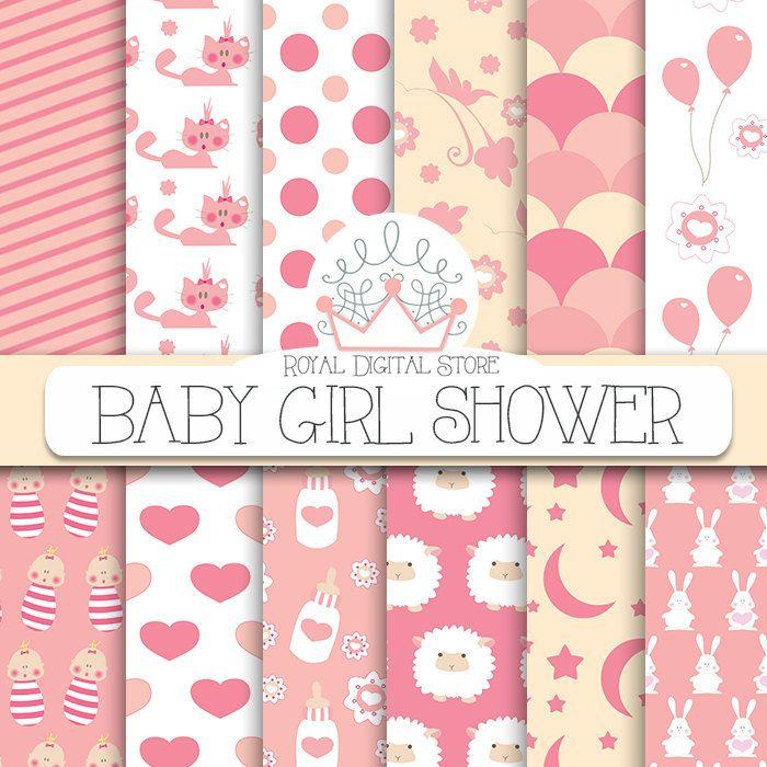 Baby Girl Digital Paper: 'Baby Girl Shower' with baby girl, kitty, sheep, lace, balloons, flowers, bunny, stars, for scrapbooking, cards #pink #digitalpaper #summerdigitalkit #partysupplies #scrapbookpaper #planner #wedding
