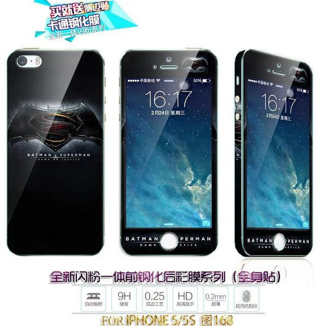 New Hot! 360 Full coverage colored tempered glass film Front + back phone soft Screen Protectors film For iphone Apple 5 5s SE