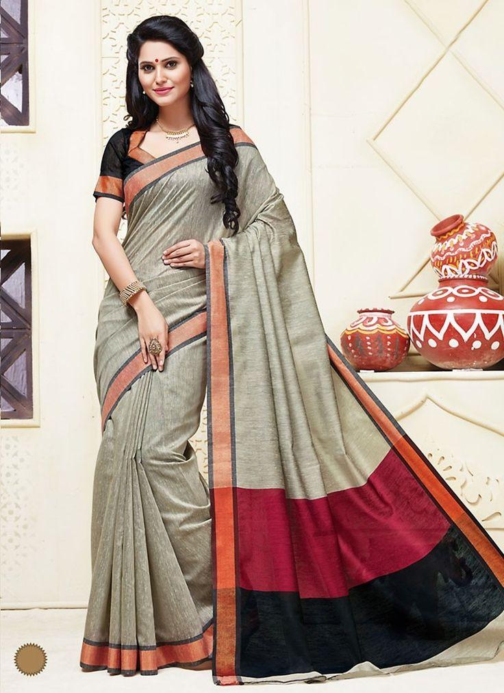 Beige Cotton #DesignerSarees With Print Works. Order Designer Sarees Online