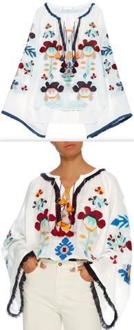 'Astrid' Embroidered Blouse, White
