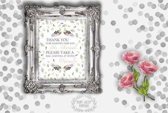 Watercolor Rosebud Wedding Signage  Candy by RubyJulepPaperie