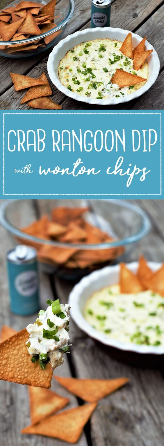 All the best things about fried takeout crab rangoon, without the frying or never-enough-filling issue. Bonus, wonton chips are super easy & so addictive!