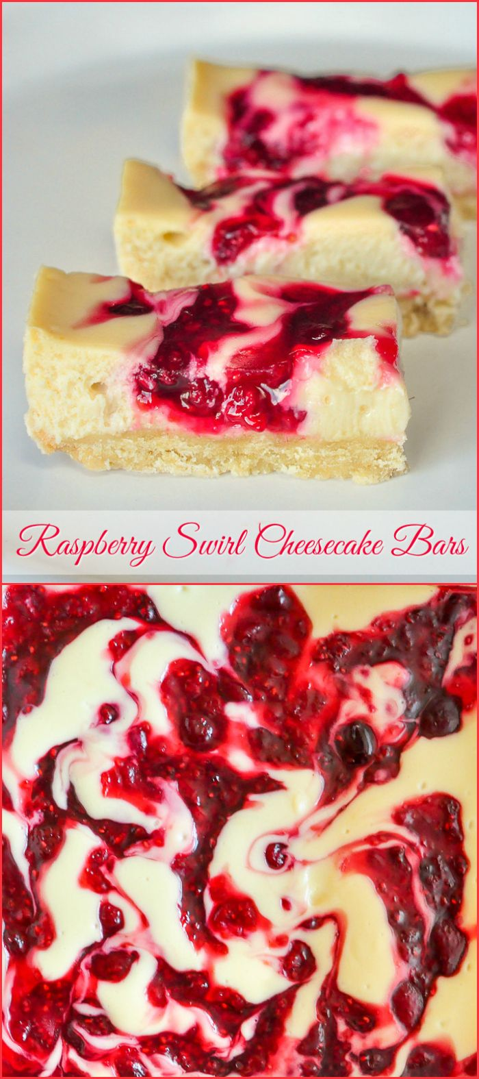 Raspberry Swirl Cheesecake Bars - ONLY 135 CALORIES! #RockRecipes100Cookies4Christmas Another recipe that does double duty in your holiday freezer. Cut them small as cookie bars or in larger servings for dessert. #RockRecipes100Cookies4Christmas