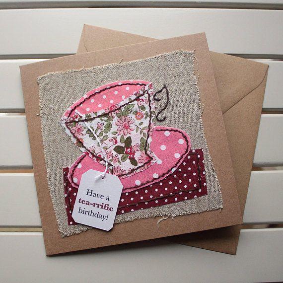 Teacup Handmade Hand Sewn Fabric Collage Birthday Card