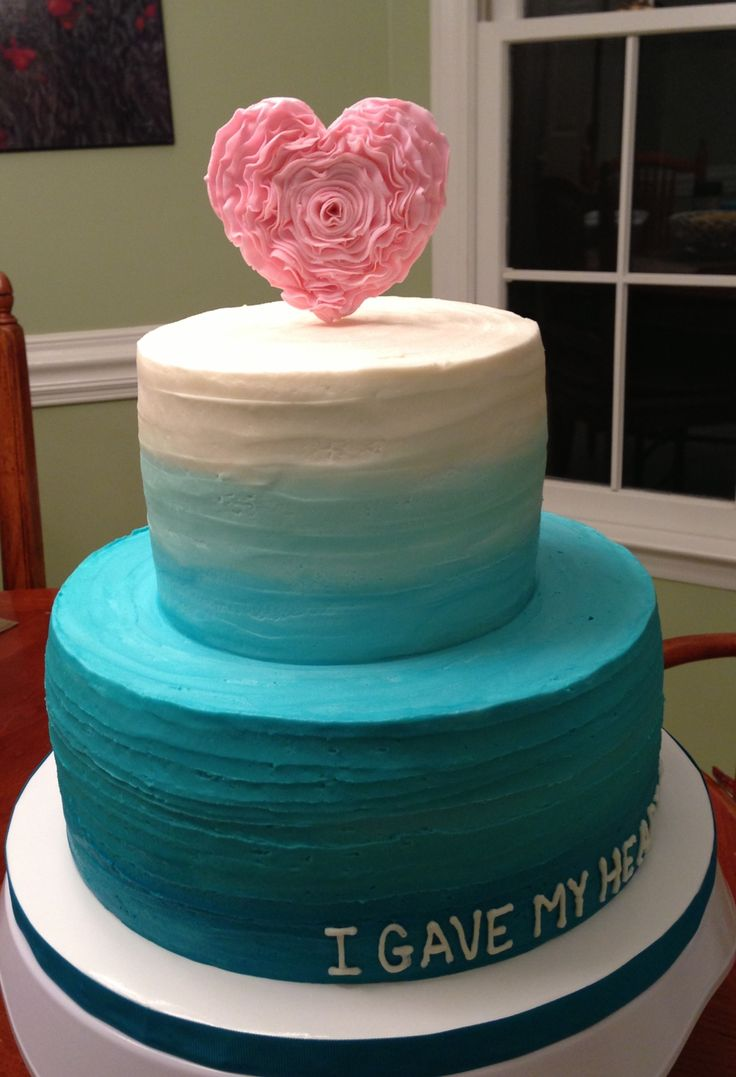 Baptism Cake With Blue Ombr 233 Buttercream And Ruffled