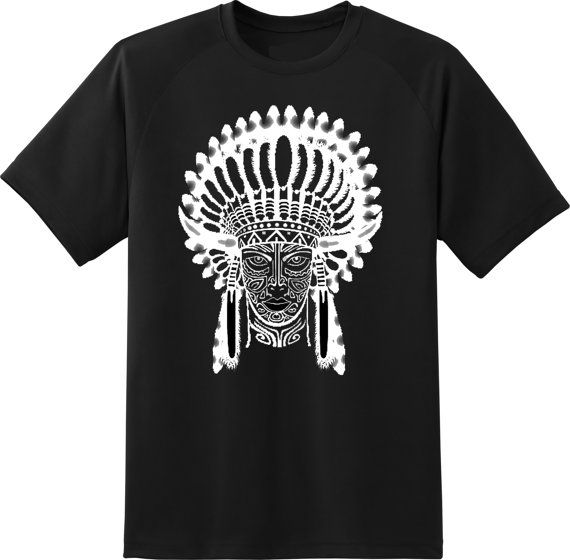 indian chief wearing traditional headdress white by ElegantPuss, $18.00