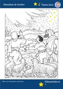 Kleurplaat de herders in het veld, thema Kerst voor kleuters, kleuteridee, free printable