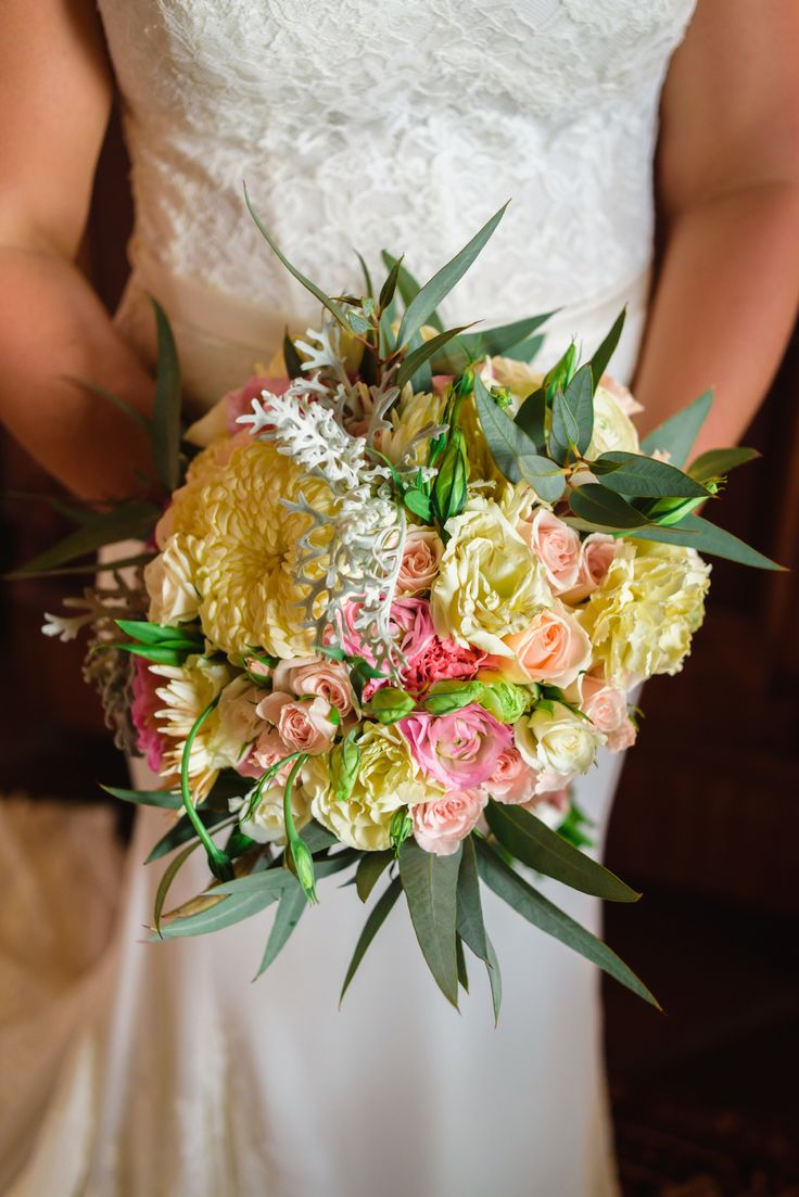 Ivory Blush Bridal Bouquet With Greenery Accents