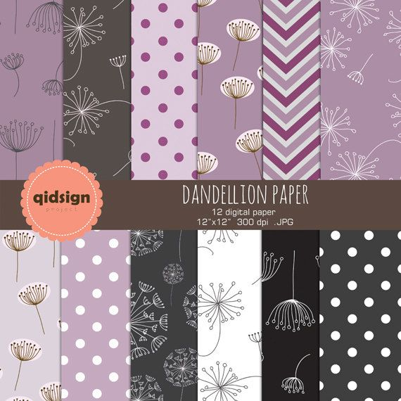 Hey, I found this really awesome Etsy listing at https://www.etsy.com/listing/195304281/dandelion-digital-papers-purple