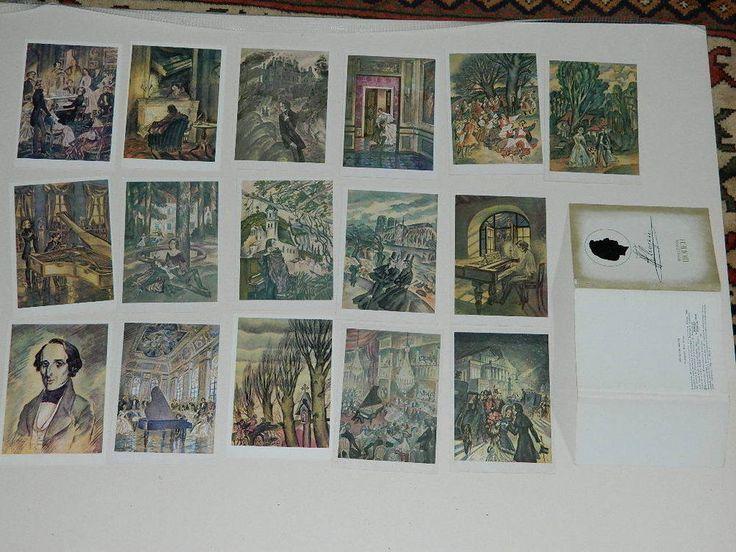 Frédérique CHOPIN . LOT DE 16 CARTES en langue russe.bon état. éd. MOSCOU 1980.