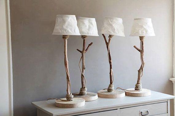 Tafellamp van drijfhout met canvas bootzeil door DutchDilight, €129.00