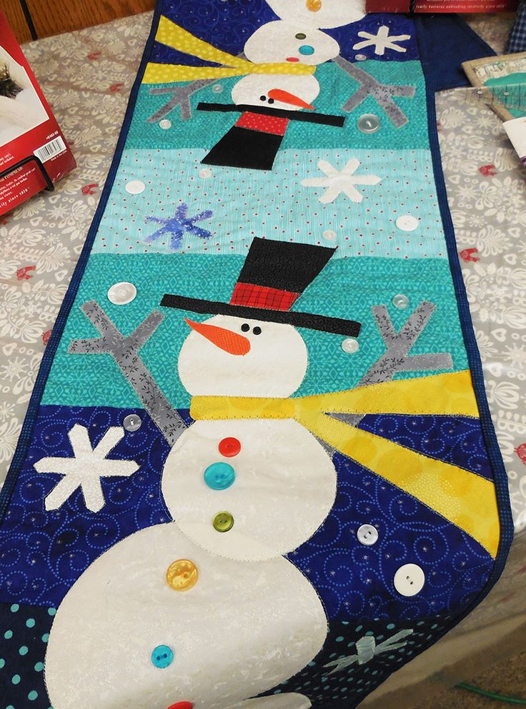 christmas table runner patterns houses - Google Search