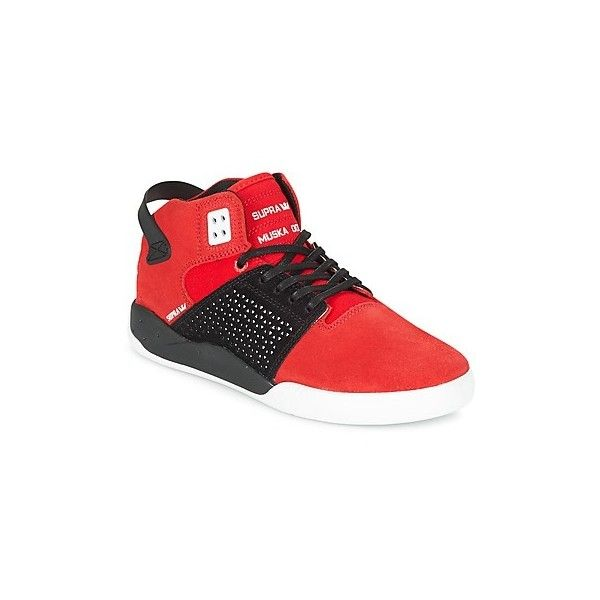 Supra SKYTOP III Shoes (374.940 COP) ❤ liked on Polyvore featuring shoes, sneakers, red, red high top sneakers, red hi tops, red hi top sneakers, high top shoes and supra trainers