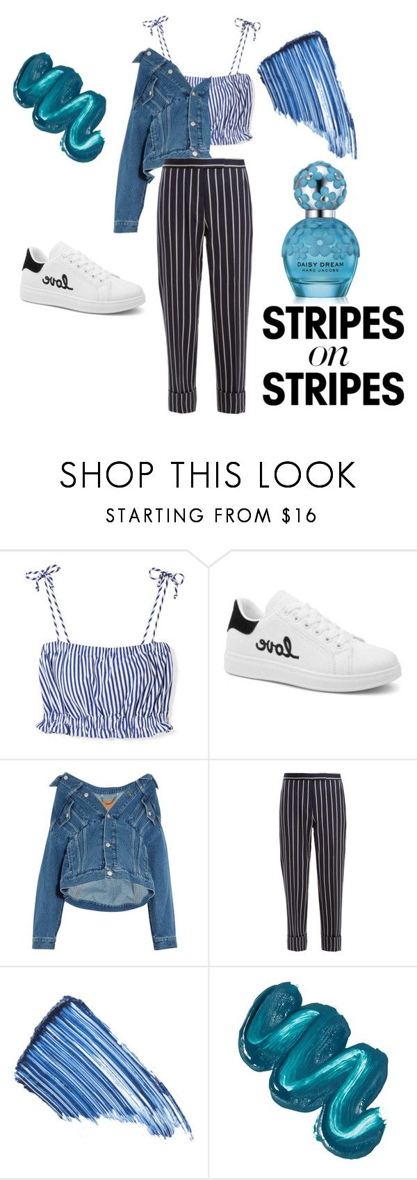 """4"" by irdinuhh ❤ liked on Polyvore featuring MDS Stripes, Balenciaga, Thom Browne, Sisley, Mermaid Salon, Marc Jacobs, stripesonstripes and PatternChallenge"