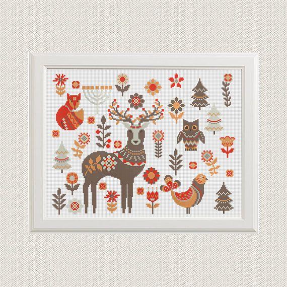 cross stitch scandinavian pattern animals fox deer owl decor nature ...