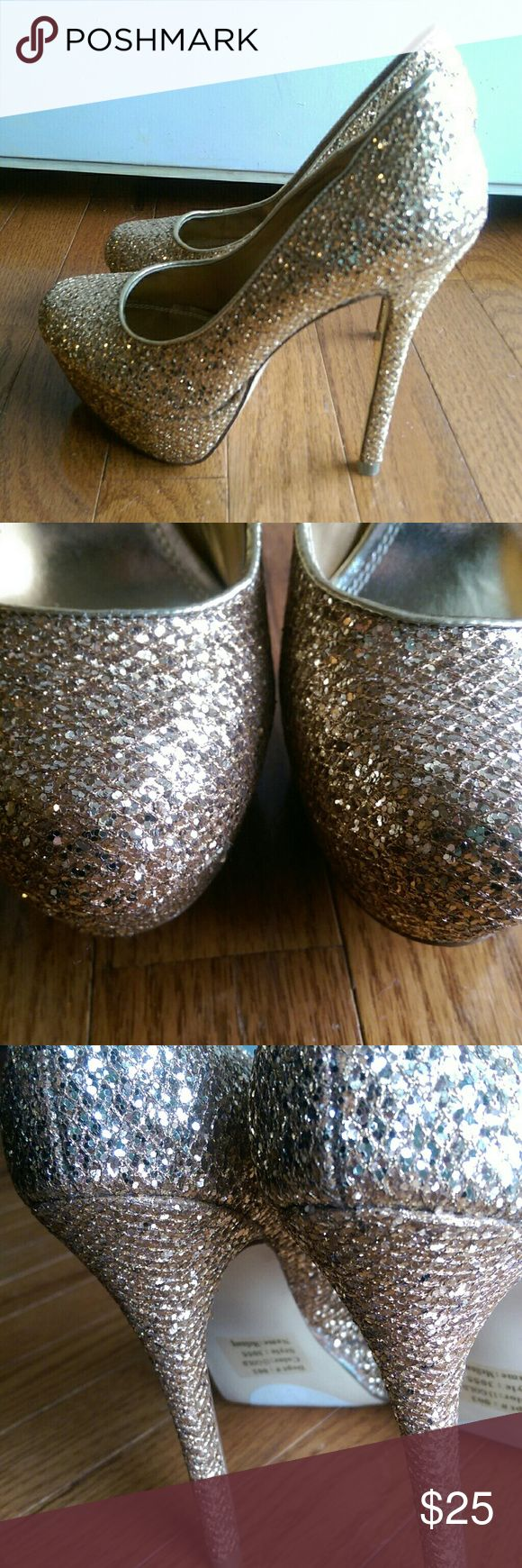 "Bakers Gold Sparkly High Heels Stilettos Size 6 Beautiful hardly worn heals. Just over 5"" in heel height from floor to shoe seem. Size 6M Bakers Shoes Heels"