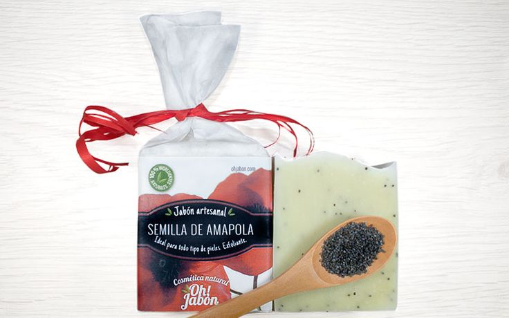 Jabón artesanal de semilla de amapola. Ideal para todo tipo de pieles. Exfoliante.