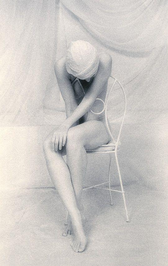 seatedwoman (by lynn bianchi) [white on white woman]