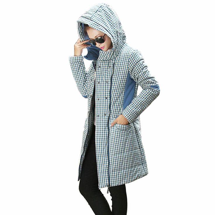 Goedkope Vrouwen katoen gewatteerde Jas 2016 Herfst en Winter Vrouwen Mid lengte Casual Grote maat Plaid Hooded dikke katoenen jassen, koop Kwaliteit   rechtstreeks van Leveranciers van China:              &nbs