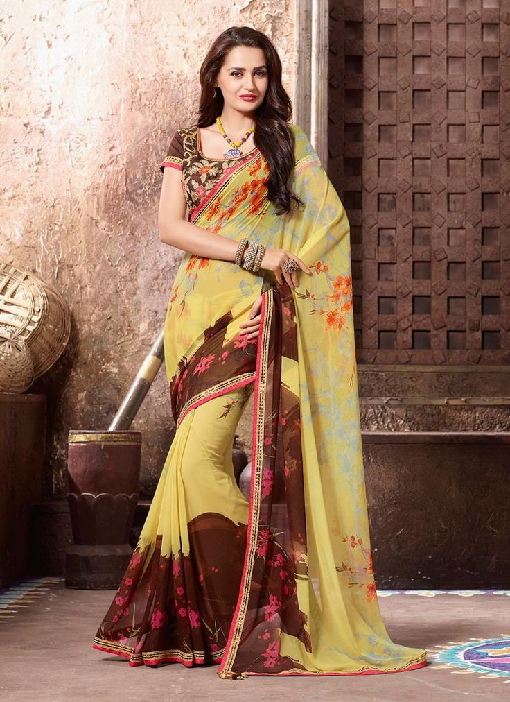 Strange Georgette Multi Colour Printed Saree