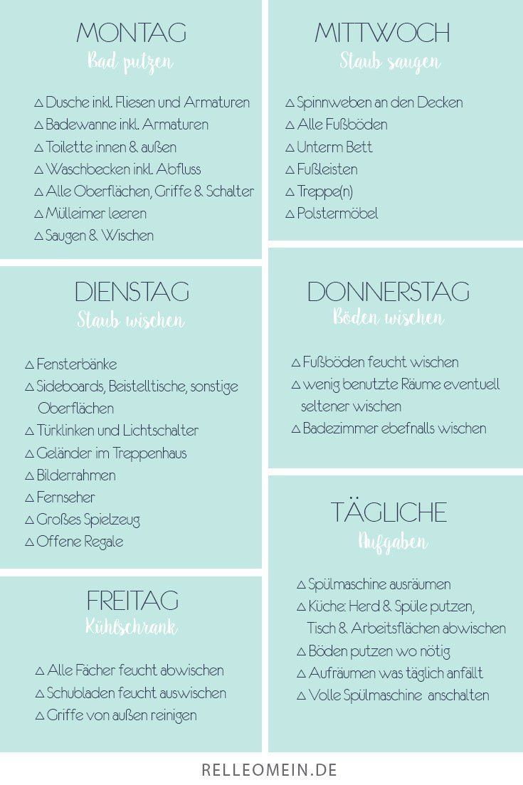 Wöchentlicher Putzplan - jeden Tag eine halbe Stunde putzen für ein sauberes Zuhause - Vorlage - kostenloser Download | relleomein.de