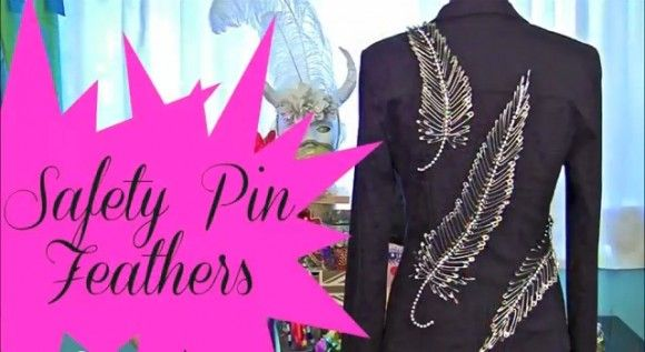 Make safety pin feathers