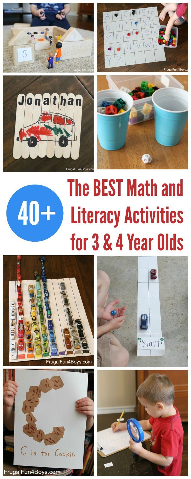 Here is a huge collection of our favorite math and literacy learning activities for preschoolers (3 and 4 year olds).  So many ideas for hands-on learning and play! Literacy Activities Go on a Detective Alphabet Hunt – Hunt for letters with a magnifying glass, and then check them off on your list. Alphabet Bingo Game …