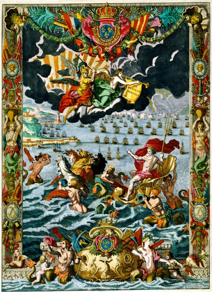 Frontispiece, The FRENCH NEPTUNE, or New ATLAS of Nautical Charts. For the use of the King's Navy. (1693). Original by the royal geographer Alexis-Hubert Jaillot (France, 1632-1712). This reproduction by Bookbinder, Pieter Mortier  (Holland, 1661-1711). 17th Century, ANTIQUE, Rare, Art, Book, Illustration, Myth, Mythological Creatures. ... via Koninklijke Bibliotheek, National Library of the Netherlands... ... Eye-catching! They weren't afraid of color back in the day!