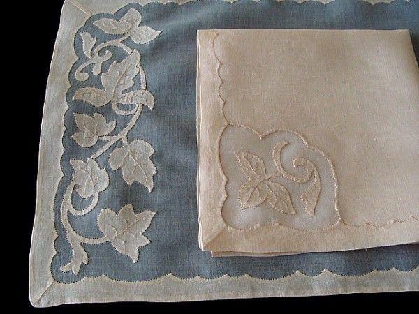 FINEST 17pc Vtg MADEIRA Linen Organdy Placemats Ivy Pattern PRISTINE Unsed Set