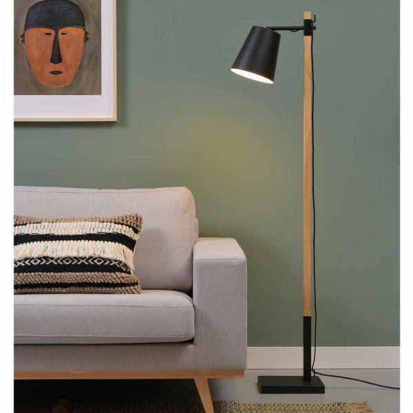 Stehleuchte Syllis Holz Metall Schwarz Weiss Stehleuchte Holz Design Lampen Holz