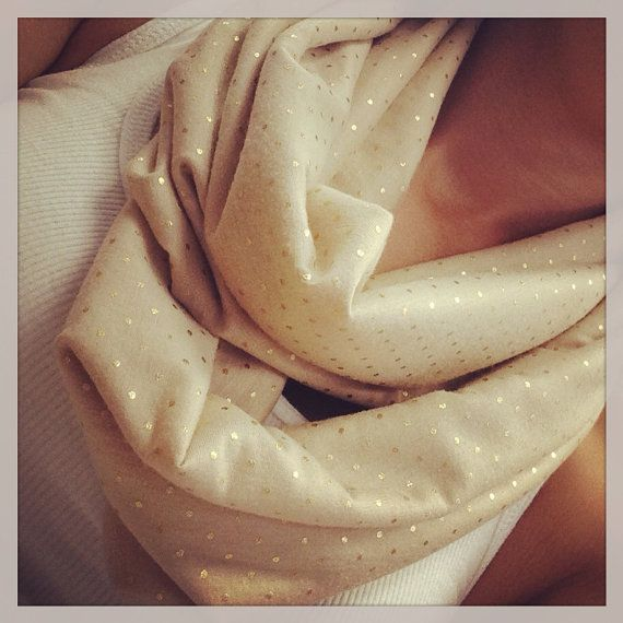 Beige with gold pin dot infinity scarf SHIPS FREE