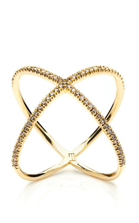 X Ring In 18K Yellow Gold With Pale Champagne Diamond by Eva Fehren Now Available on Moda Operandi
