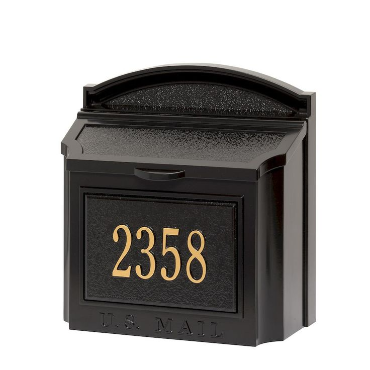 Whitehall Products   Custom Wall Mount Mailbox with Removable Locking Insert - Black   Residential Mailbox