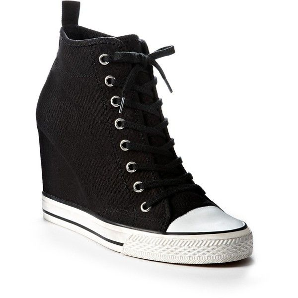 DKNY Grommet Sneaker Wedge ($165) ❤ liked on Polyvore featuring shoes, sneakers, wedges, sapatos, heels, black wedge shoes, wedges shoes, black canvas sneakers, wedge trainers and black wedge heel sneakers