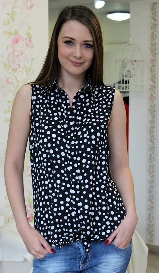 White spotted sleeveless blouse