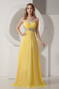 Beaded Strapless Floor-length Yellow Chiffon Hot Sale Prom Dress with Ruching