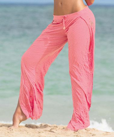 Salmon Side-Slit Cover-Up Pants by Garotas #zulily #zulilyfinds
