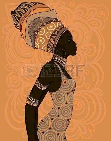 Geleneksel türban Oldukça Afrikalı Amerikalı kadın. photo