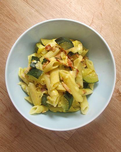 Cuketa zapečená se šunkou a těstovinami - 2  cukety 2 cibule 20 dkg šunky 1 balení semolinových těstovin 15 dkg ementálského sýru 2 lžíce olivového oleje 4 vajíčka oblíbené koření Cukety pokapejte olivovým olejem a okořeňte, vše promíchejte a dejte péct na 200 °C 20 min. Vyndejte plech a vsypte uvařené těstoviny, dobře promíchejte,přidejte rozšlehaná vajíčka a znovu dobře promíchejte, aby se všechny kousky obalily. Na závěr na vrch nastrouhejte sýr a dejte znovu zapéct do trouby na cca 5…